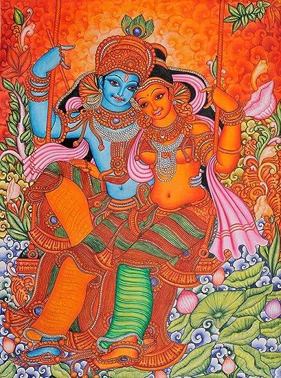 amazon com radha and krishna on swing kerala folk style kerala