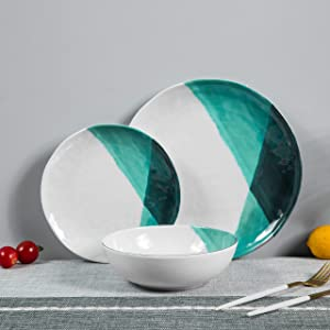 12pcs Melamine Dinnerware Set - Outdoor Plates and Bowls Set, Dishwasher safe, Green