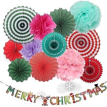 Christmas 8pc Paper Fan Party Decorations Kit, 4pc DIY Ceiling Hanging  Tissue Paper Pom Poms