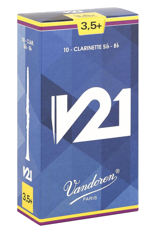 Vandoren CR8035PLUS Série V21 force 3, 5 Plus Boîte de 10 Anches pour Clarinette SIB Bleu CR8035+ Bois/Clarinettes
