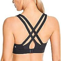 CRZ YOGA Women's Sexy Stappy Sports Bras Hook-and-Eye Closure Wireless Padded Workout Yoga Bra Tops