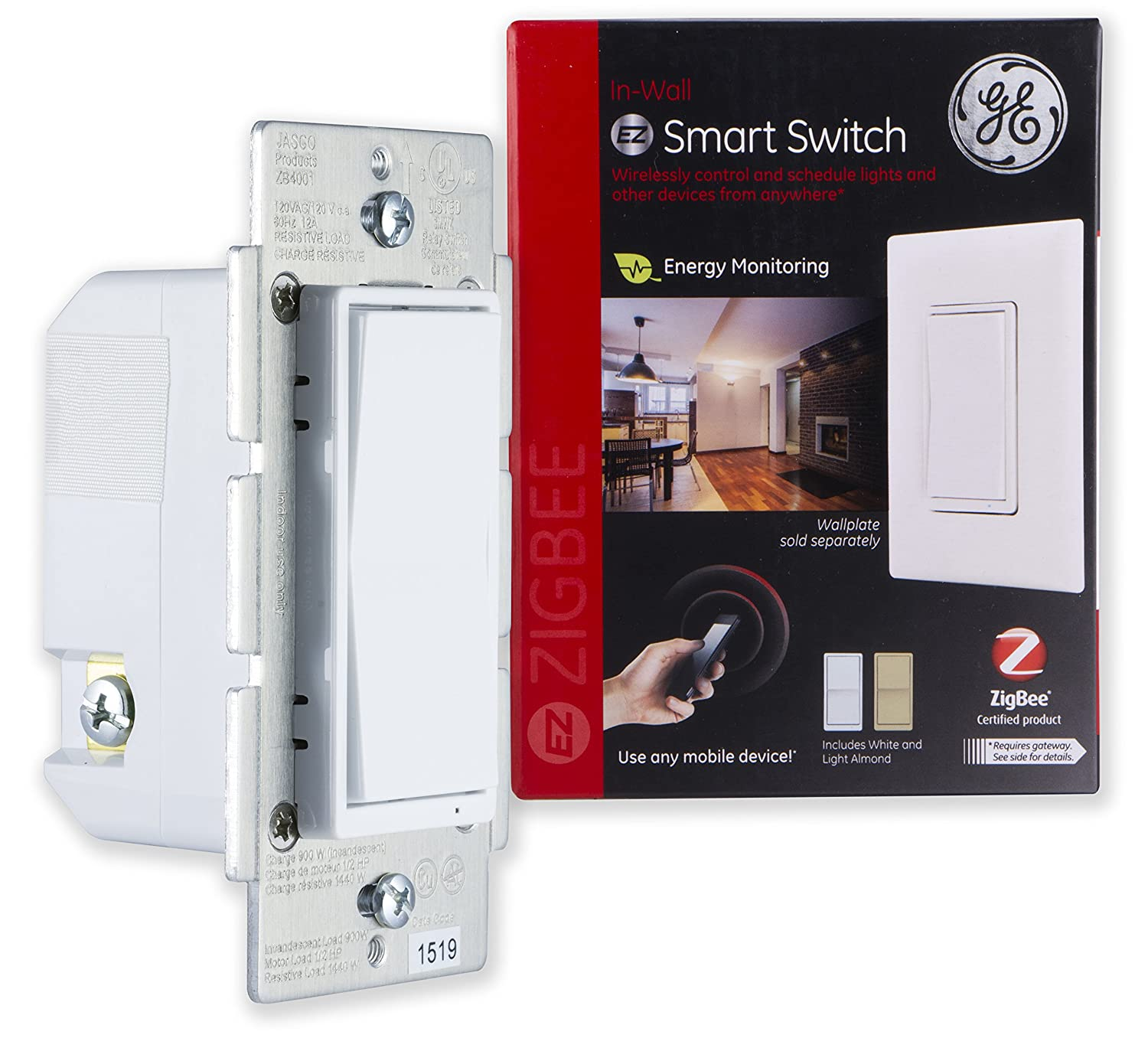 GE ZigBee Smart Lighting Control Switch, In-Wall, On/Off, LED & CFL Compatible, Energy Monitoring, HA1.2, White & Light Almond Paddles, Works with Echo Plus, Echo Show, and Deco M9 Plus, 45856GE