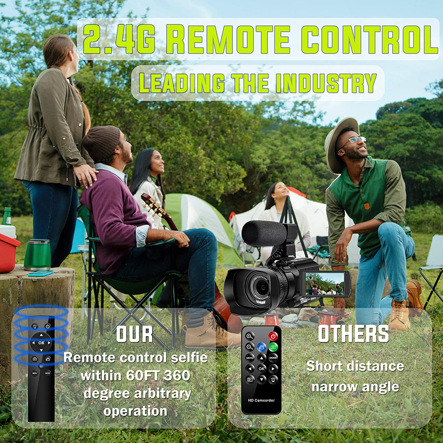Video Camera 4K Camcorder with Microphone 48MP Vlogging Camera WiFi YouTube Camera IR Night Vision 3 Touch Screen 30X Digital Zoom Camera Recorder with 360/°Wireless Remote Control and Lens Hood