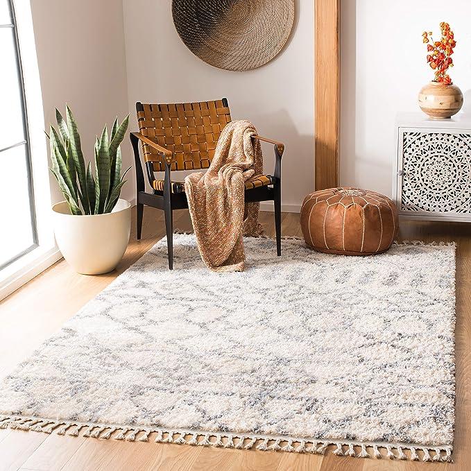 Safavieh Lina Fringe Shag Rug Woven Polypropylene Carpet In Cream Grey 200 X 300 Cm Amazon Co Uk Kitchen Home