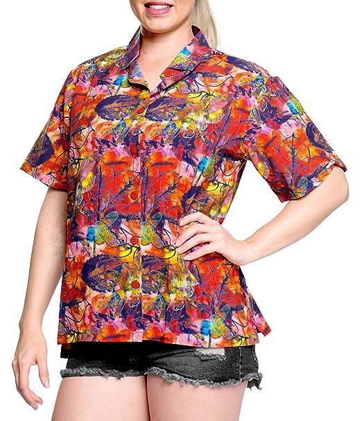 Hawaiano botón de la Camisa Blusas Mujeres aptas Abajo relajados Mangas Cortas Campo de múltiples: Amazon.es: Ropa y accesorios