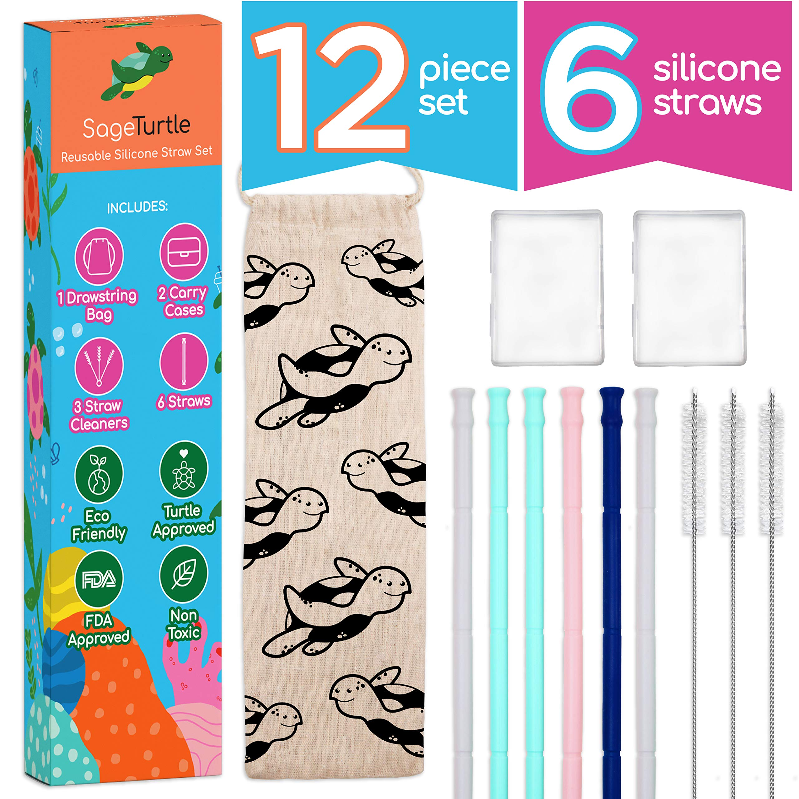 SageTurtle Silicone Straw - 12 Pc Set - Collapsible Straw - Reusable Straw with Case - Portable Straw - Foldable Straw - Reusable Straws Collapsible - Collapsible Straws - Reusable Straws With Case by SageTurtle