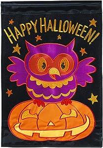 Magnolia Garden Happy Halloween Owl Black 13 x 18 Small Double Applique Outdoor Halloween House Flag
