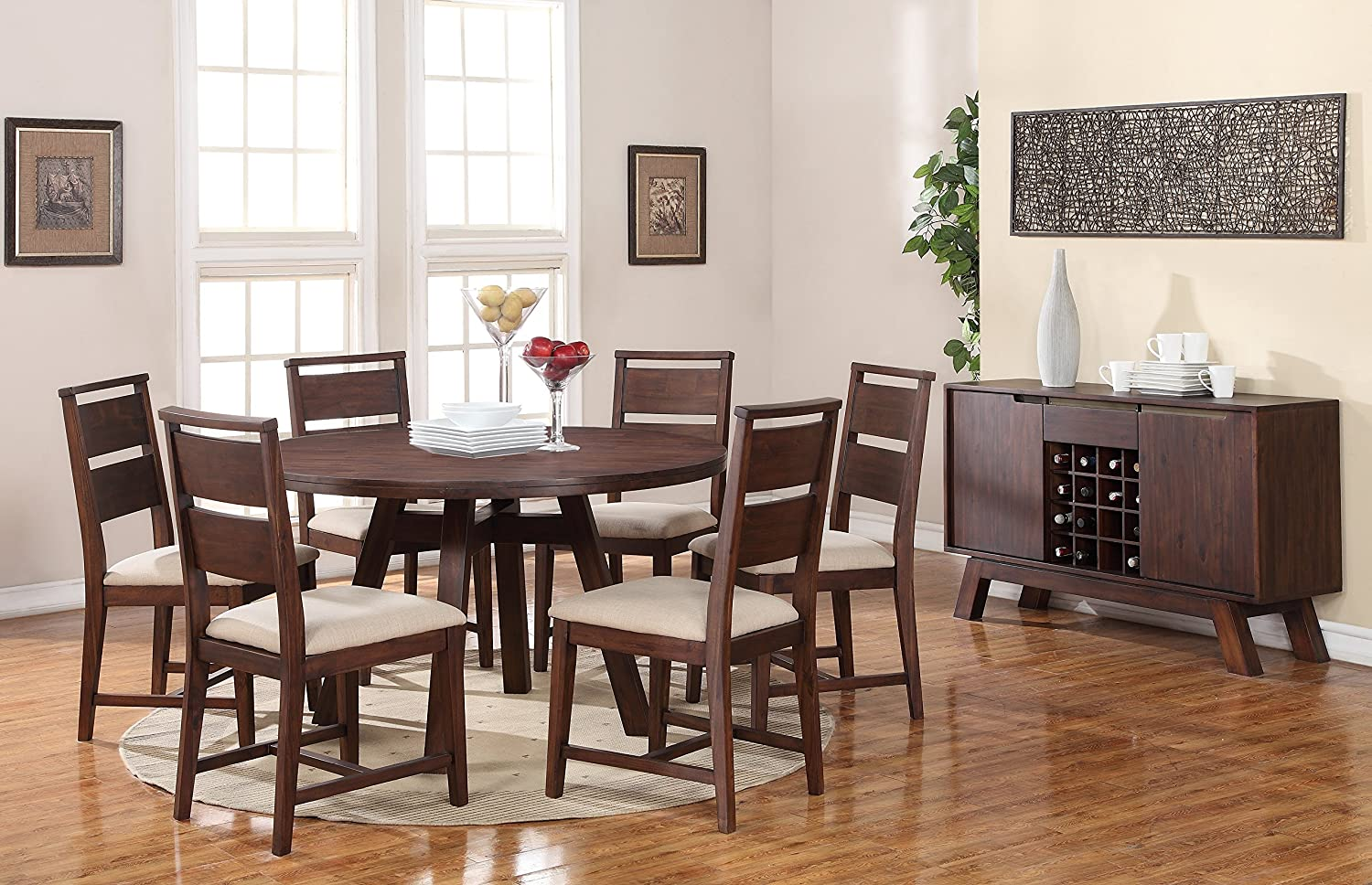 Amazon.com: Modus Furniture 7Z4861 Portland Solid Wood Round Dining Table,  Walnut: Kitchen U0026 Dining