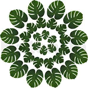 Real Looking Artificial Plant Leaves - Pack of 30 | Monstera Palm Leaves | Tropical Leaves Decorations | Palm Leaves Decorations | Luau Safari Party Supplies | Jungle-Beach-Birthday Theme | 3 Sizes