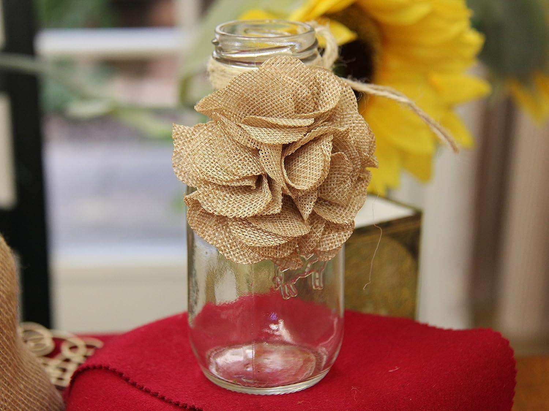18 Pcs 3 Burlap Rustic Flowers Rose Chic,Wedding Decor,Craft Country,Natural!