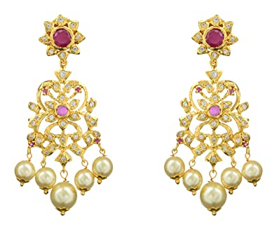 3afe57fd66230 Buy Swarnakshi Gold Plated Dangle and Drop Earrings for Women (ERS ...