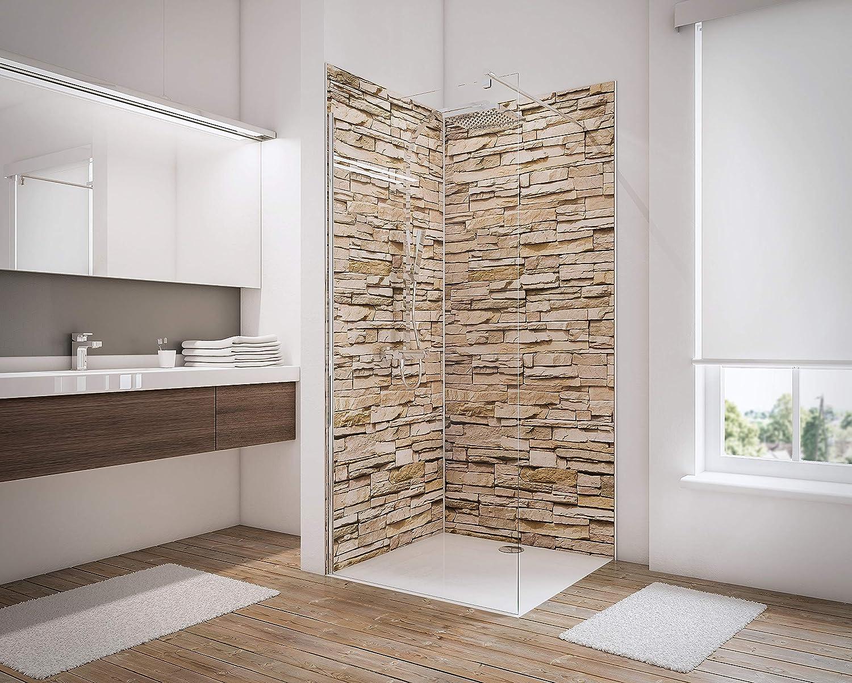 d/écor Ardoise rev/êtement d/écoratif 3D Douche Schulte 4060991008153 Lot de 2 Panneaux muraux pour Salle de Bains DecoDesign 3 profil/és 100x210 cm