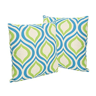 "Christopher Knight Home 305514 Larissa Outdoor 18"" Water Resistant Square Pillows (Set of 2), Blue and Green, Ikat: Home & Kitchen"