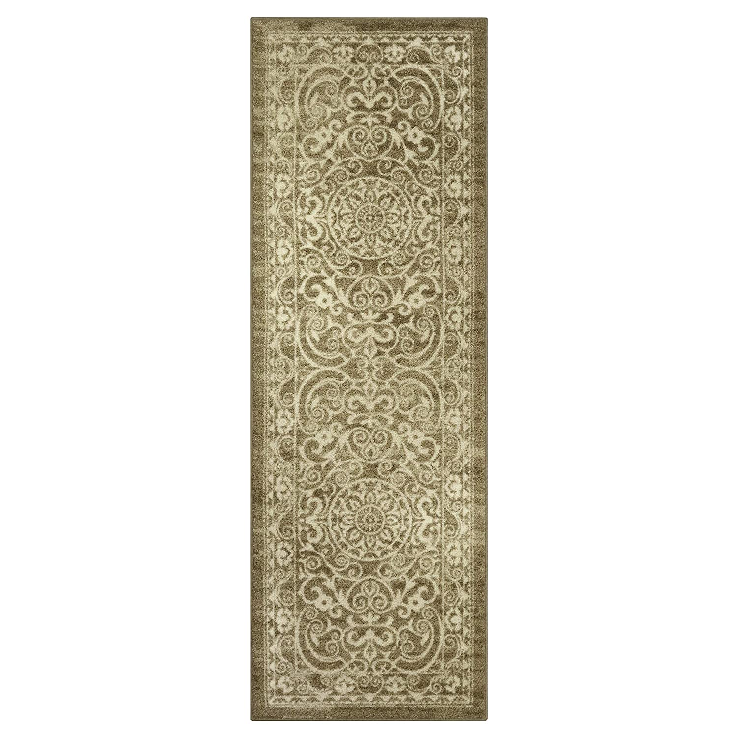 Made in USA Pelham 2 x 6 Non Skid Hallway Carpet Entry Rugs Runners Khaki for Kitchen and Entryway Maples Rugs Runner Rug