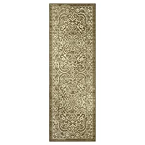 Maples Rugs AG4055701 Pelham 2' x 6' Non Skid Hallway Carpet Entry Rugs Runners [Made in USA] for for Kitchen and Entryway Khaki