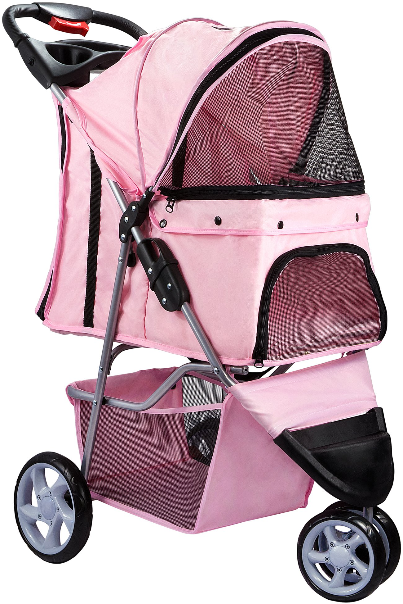 Paws & Pals OxGord 3 Wheeler Elite Jogger Pet Stroller Cat/Dog Easy Walk Folding Travel Carrier, Rose Wine