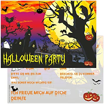 12 Halloween Party Invitations Scary Beautiful Cards TEXT A Birthday A6 Amazoncouk Toys Games