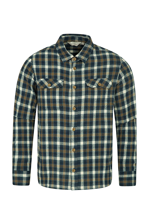 Mountain Warehouse Camisa de Franela de Manga Larga Trace para Hombre Carbón S