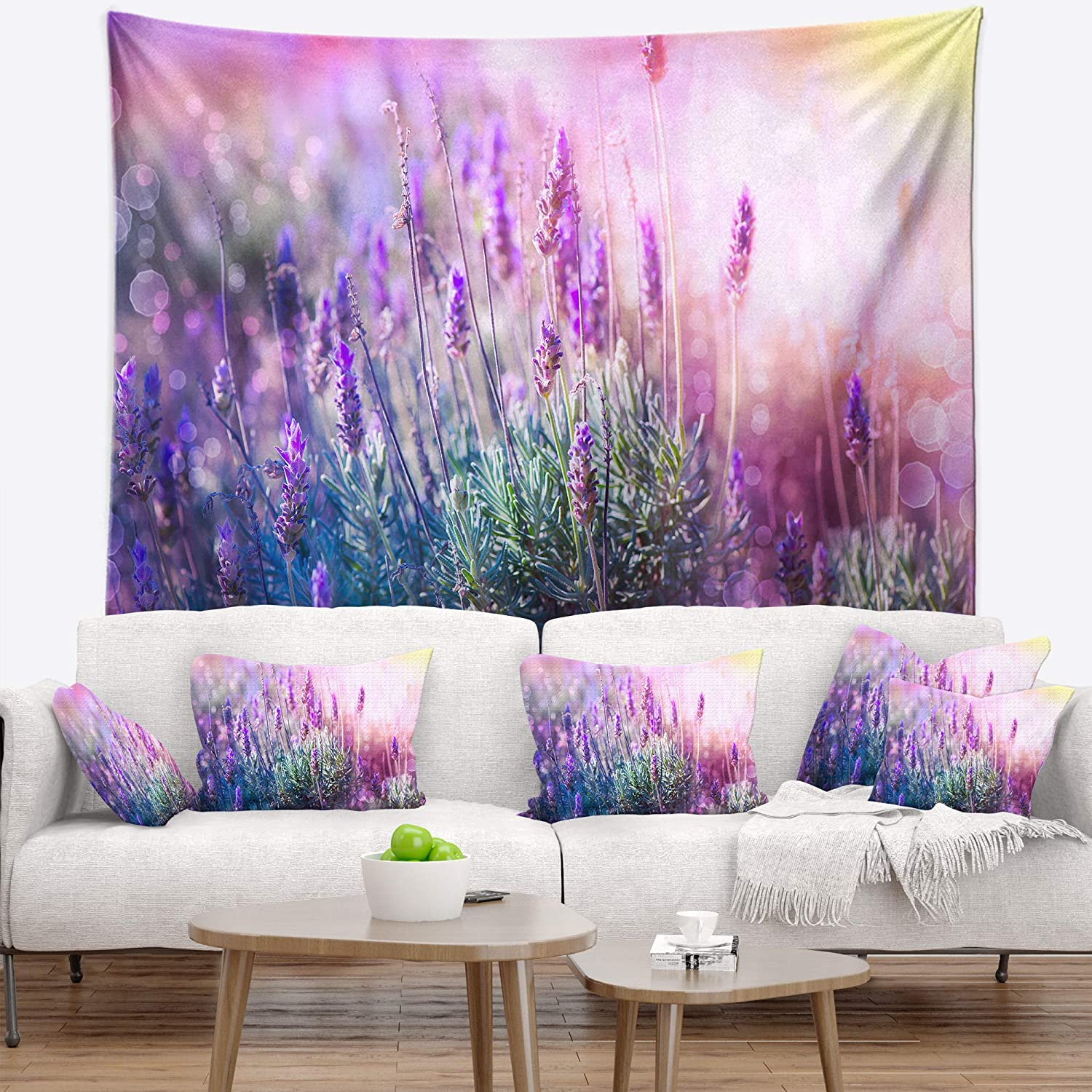 Designart TAP9250-39-32 ' Growing and Blooming Lavender' Floral Blanket Décor Art for Home and Office Wall Tapestry Medium: 39 in. x 32 in. Created On Lightweight Polyester Fabric