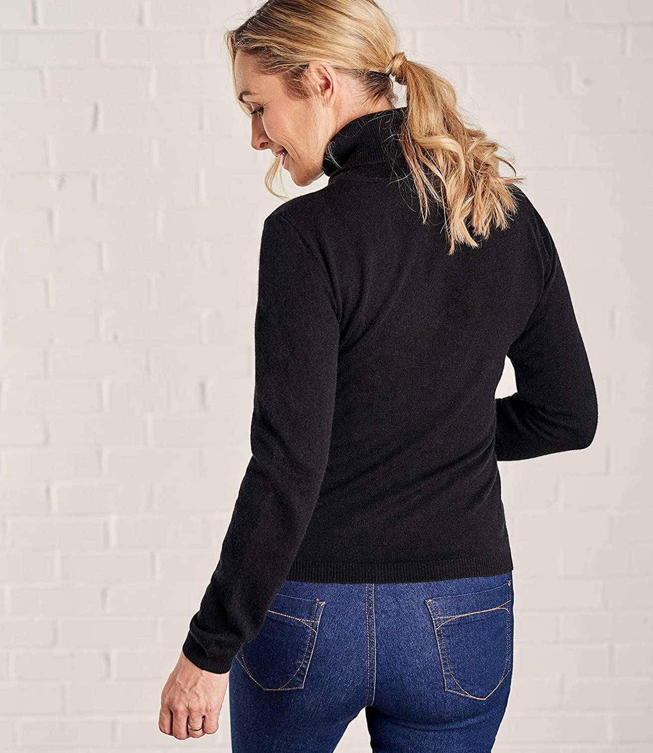 4587a80be3e0 Woolovers Ladies Cashmere and Merino Fitted Polo Neck Knitted Sweater   Amazon.co.uk  Clothing