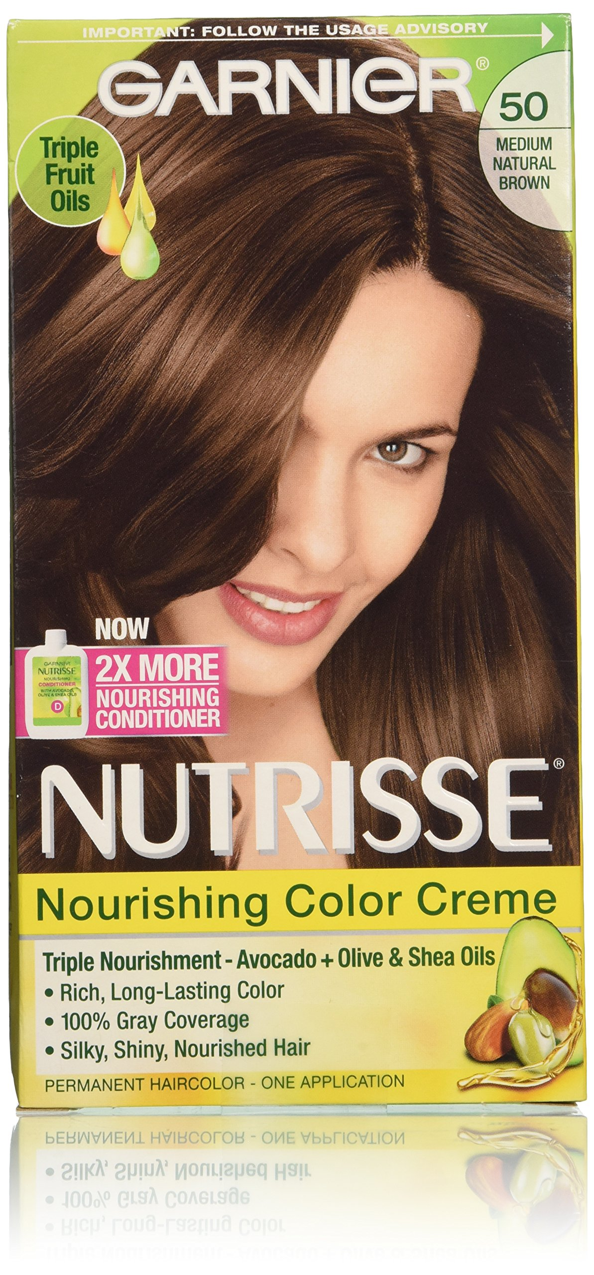 Garnier Nutrisse Nourishing Color Creme, 50 Medium Natural Brown (Truffle), 3-Pack (Packaging May Vary)