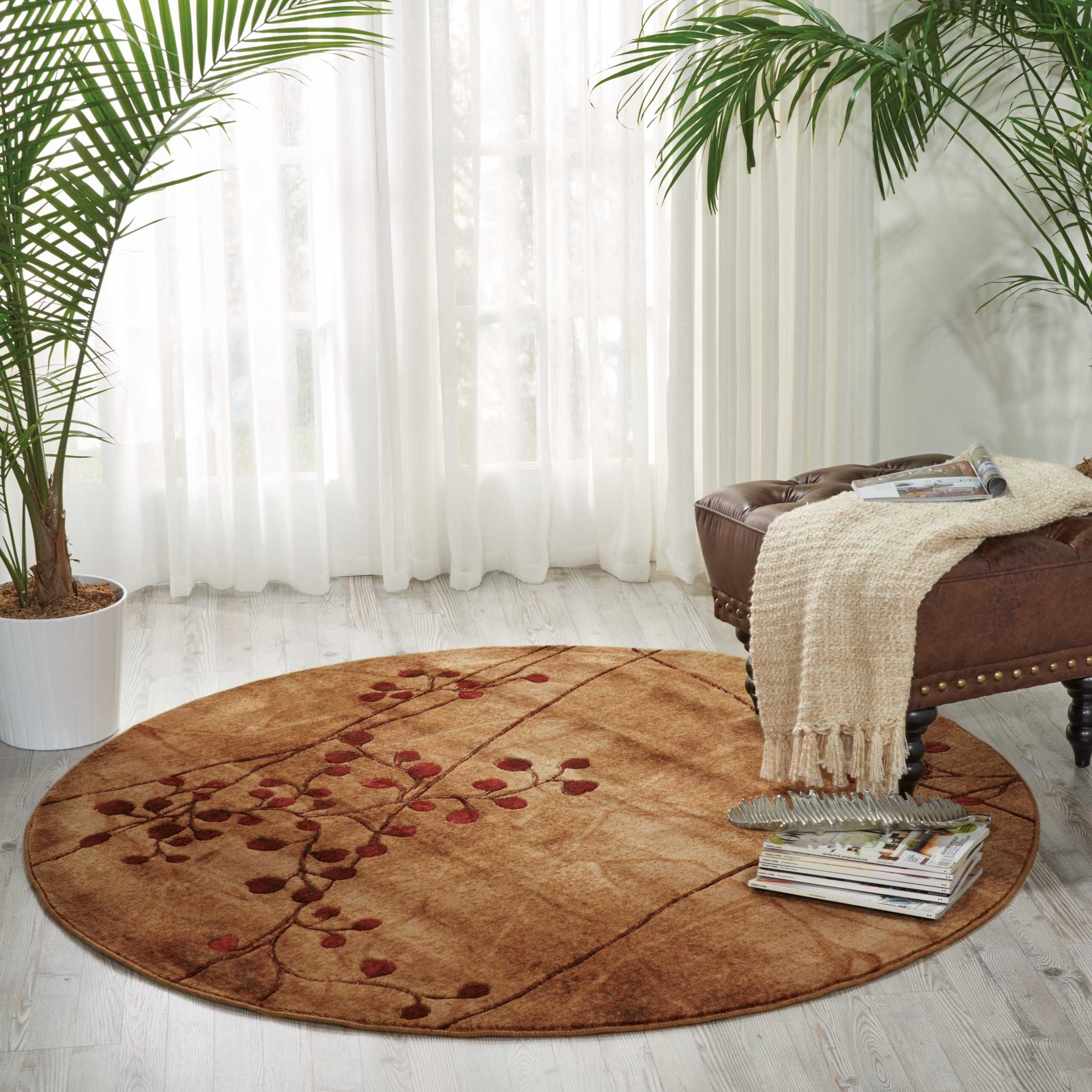 Nourison Somerset (ST74) Latte Round Area Rug, 5-Feet 6-Inches by 5-Feet 6-Inches (5'6'' x 5'6'')