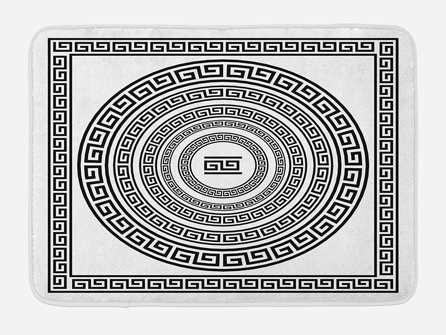 Ambesonne Greek Key Bath Mat, Traditional Meander Border Set Square and Circles Antique Frame Pack, Plush Bathroom Decor Mat with Non Slip Backing, 29.5