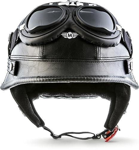 "55-56cm Moto Helmets/® D33-Set /""Leather Black/"" /· Brain-Cap /· Halbschale Jet-Helm Motorrad-Helm Roller-Helm Scooter-Helm Bobber Mofa-Helm Chopper Retro Cruiser Vintage Pilot Biker Helmet Brille /· S"