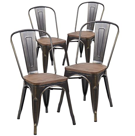 ANJI Industrial Tolix Style Distressed Metal Bistro Stacking Kitchen Dining  Chairs With Wood Seat Set Of