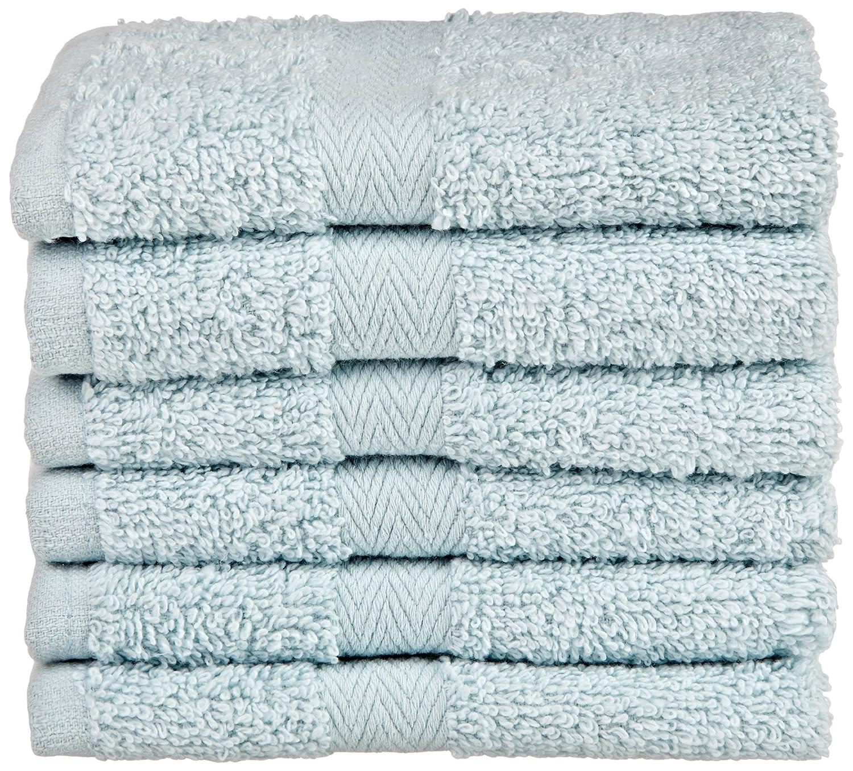 Northpoint Baroque Zero Twist Cotton Washcloths, 13 by 13-Inch, Surf Blue, Set of 6 73975