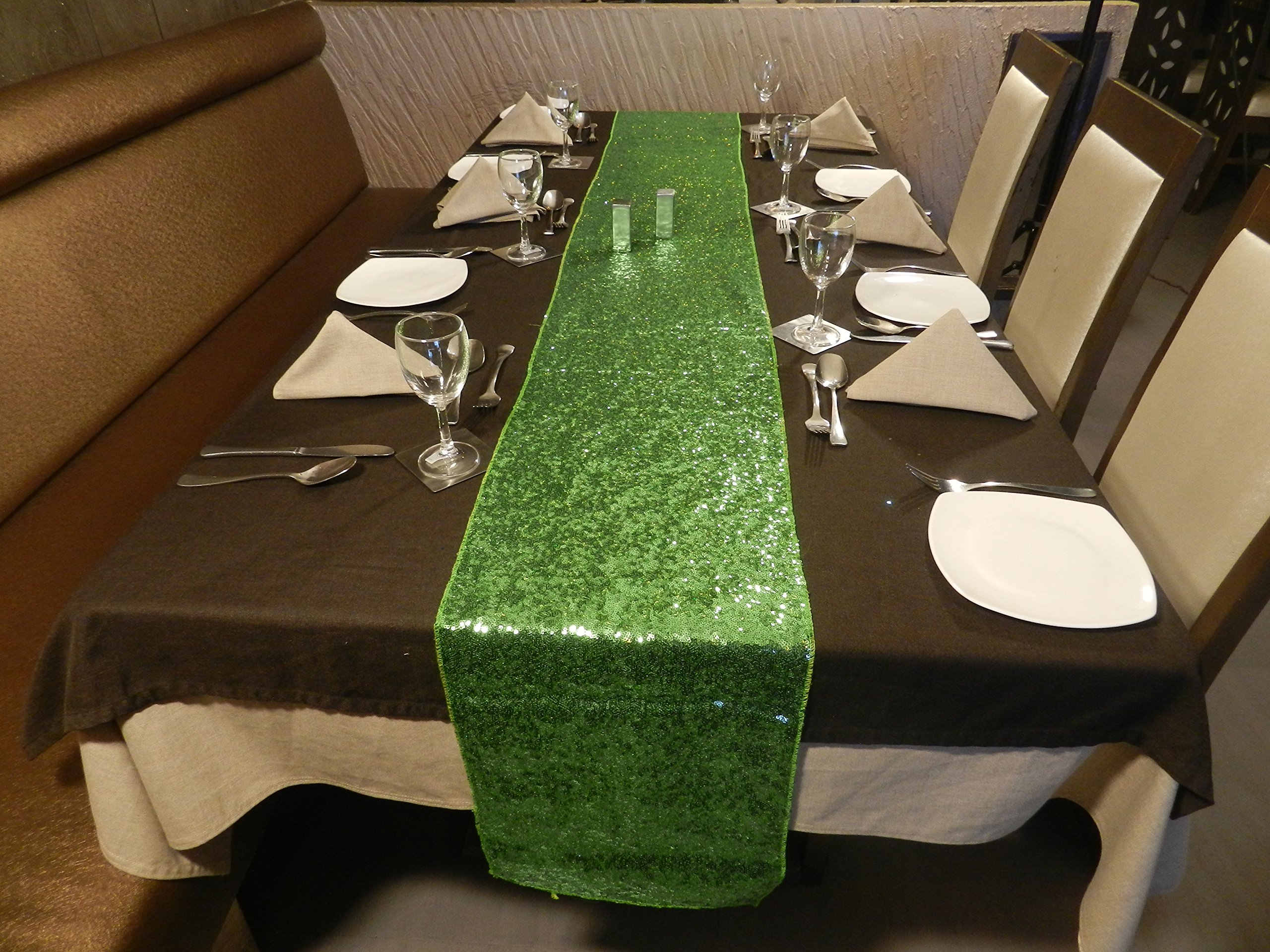 Liva Home Pack Of 15 Wedding 13 x 108 inch Sequin Table Runner Wedding Banquet Decoration (15, LIME-GREEN) by Liva Home (Image #2)