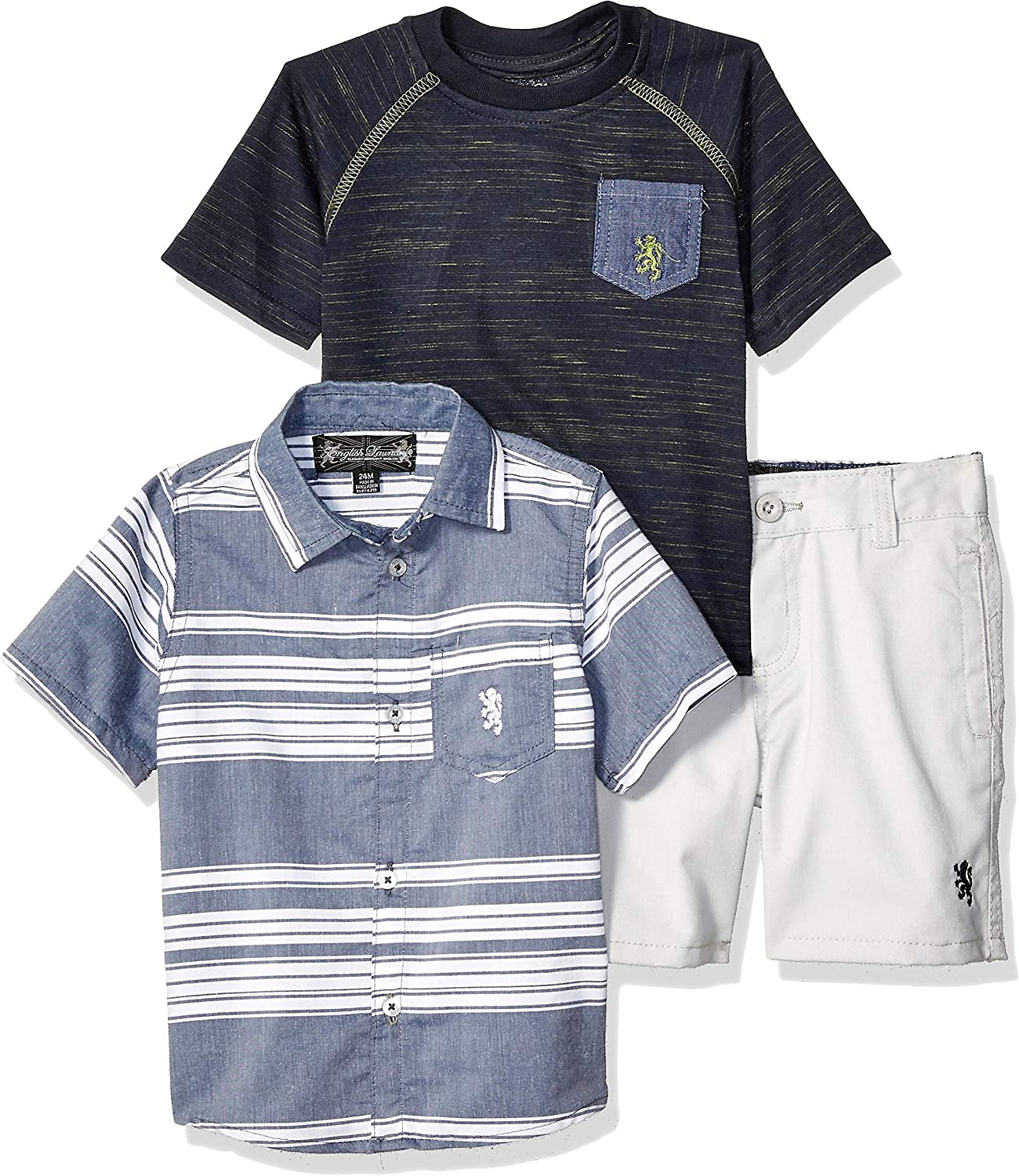 English Laundry Baby Boys Sleeve Woven, T-Shirt, and Short Set