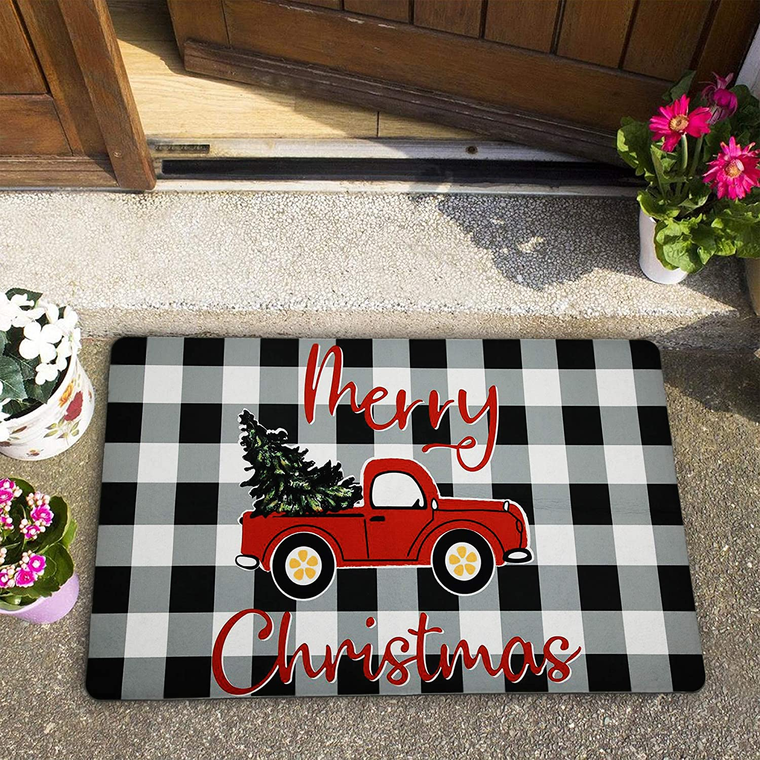 Merry Christmas Doormats Winter Holiday Area Rugs 18 × 30 Inches Black and White Plaid Kitchen Rug Christmas Pine Truck Floor Mat for Entryway, Living Room, Kitchen, Bathroom
