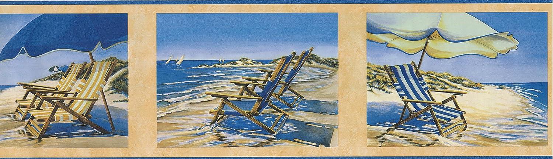 Roll 15 x 7 Beach Chair Recliner Umbrella on the Seashore Sailboats Nautical Wallpaper Border Retro Design