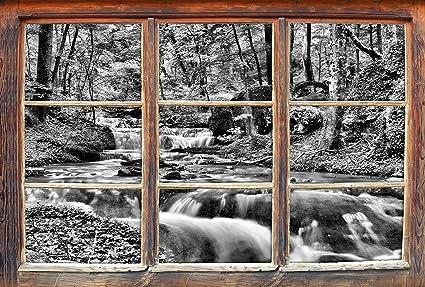 Decorazione Finestre Autunno : Monocrome flusso bosco in autunno finestre in d guardano muro o