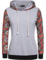 Esion Long Sleeve Print Patchwork Hooded Pullover Hoodie
