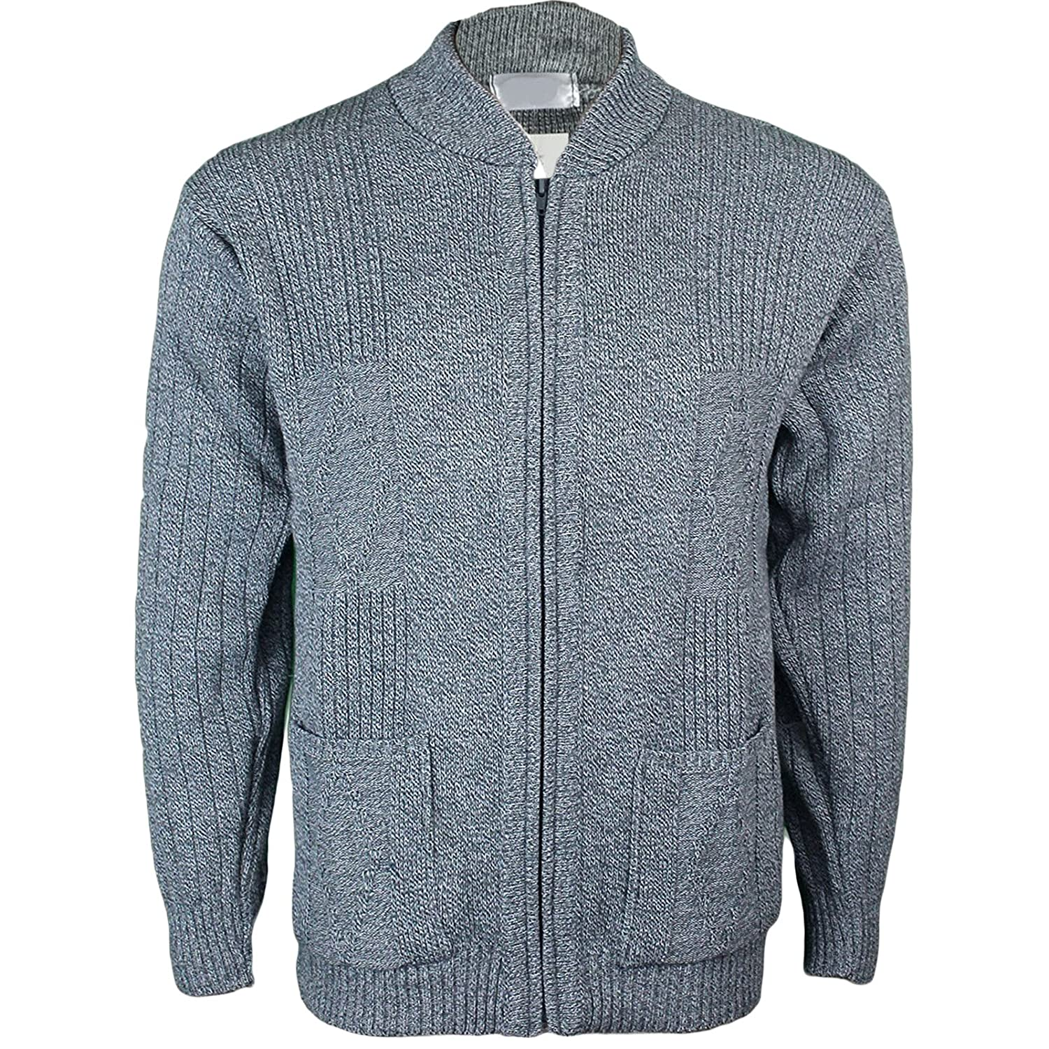 207172260 Mens Classic Zip Up Vintage Plain Knitted Grandad Cardigan Jumper UK ...
