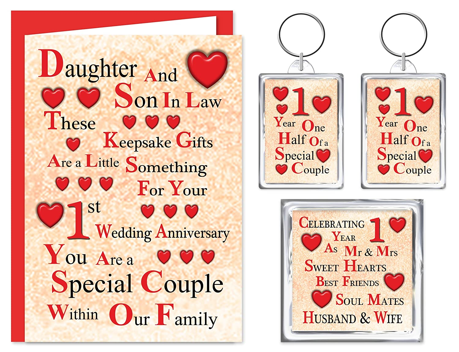 Daughter son in law 1st wedding anniversary gift set card 2 daughter son in law 1st wedding anniversary gift set card 2 keyrings fridge magnet a little something for a special couple on your paper negle Gallery