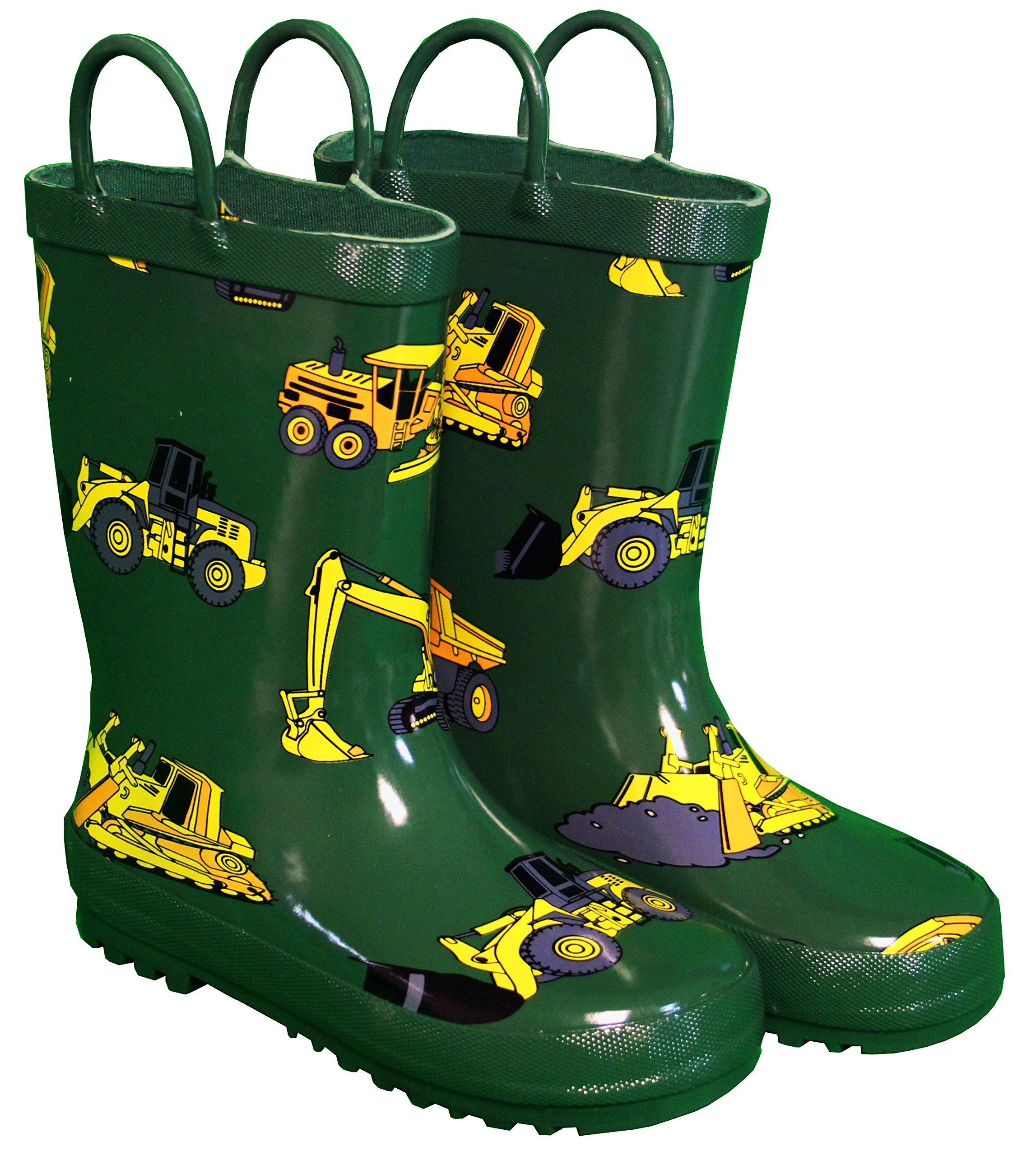 Foxfire for Kids Green with Constuction Equipment Rubber Boots Size 12
