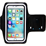 i2 Gear Sports Armband for iPhone 8 Plus, 7 Plus, 6 Plus with Keyholder, Fingerprint Touch and Reflective Band (5.5 inch, Black)