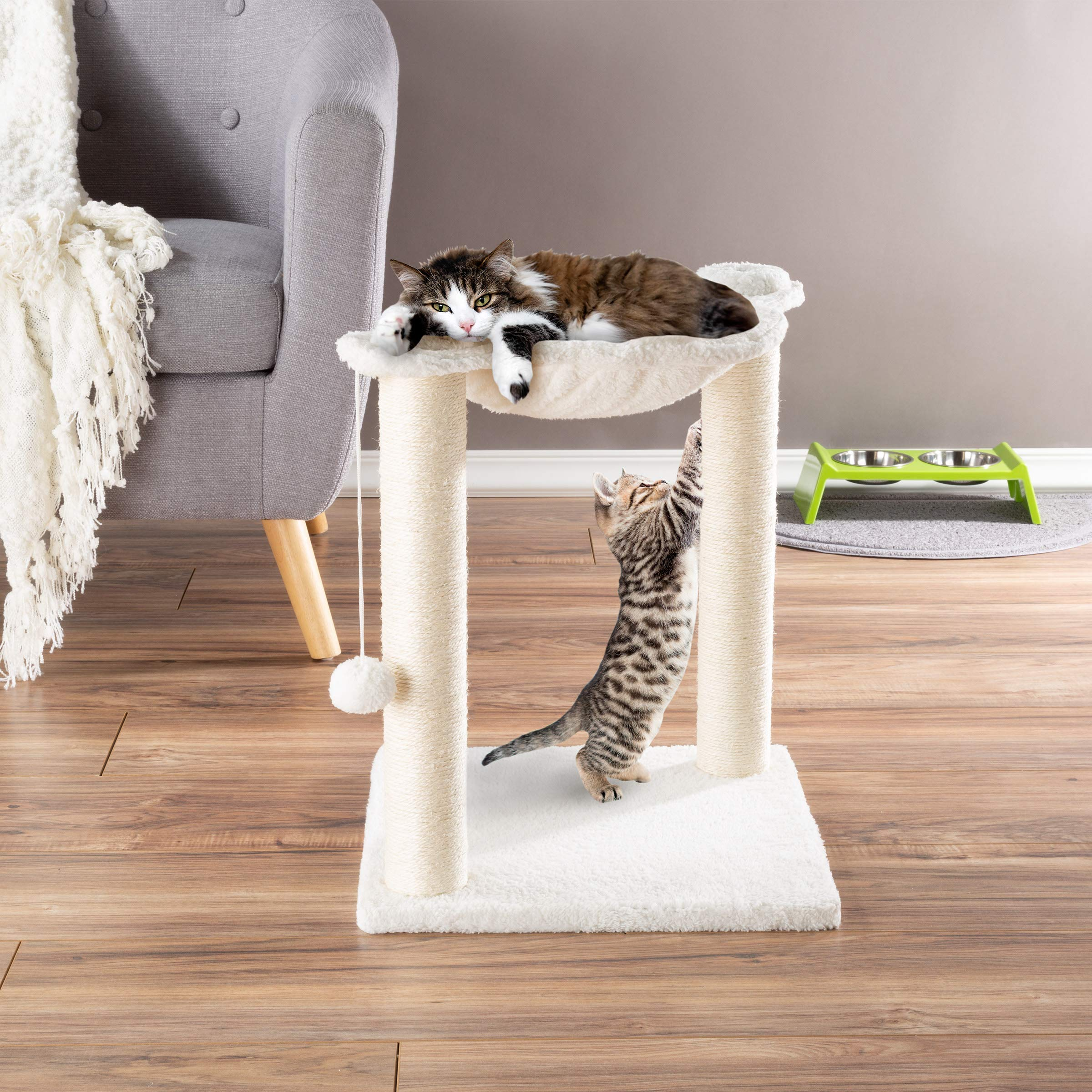 PETMAKER Cat Tree and Scratcher- Two Sisal Scratching Posts, Hammock Style Lounging Bed and Interactive Hanging Toy for Cats and Kittens (15.75'') by PETMAKER