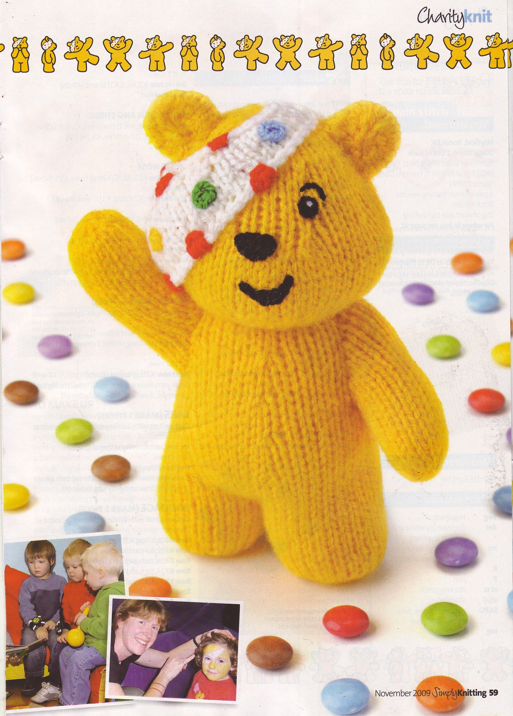Pudsey Bear by Alan Dart Toy Knitting Pattern: Measurements 6.5 ...
