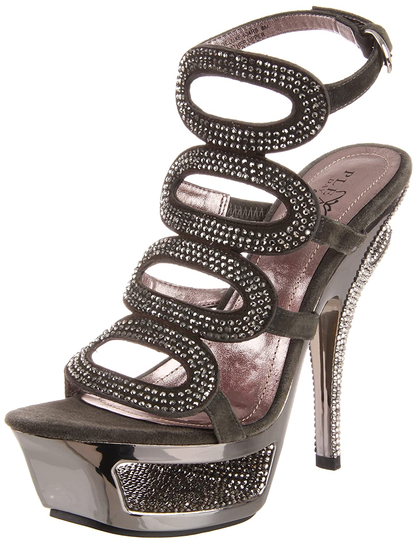 Pleaser Women's Deluxe-634RS/DGYS Platform Sandal B005NCK4VK 6 B(M) US|Dark Grey Suede