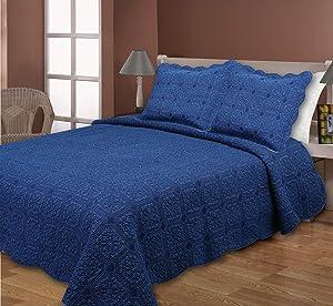 Mélange Home 225989 Cotton Denim Navy Quilt Set King