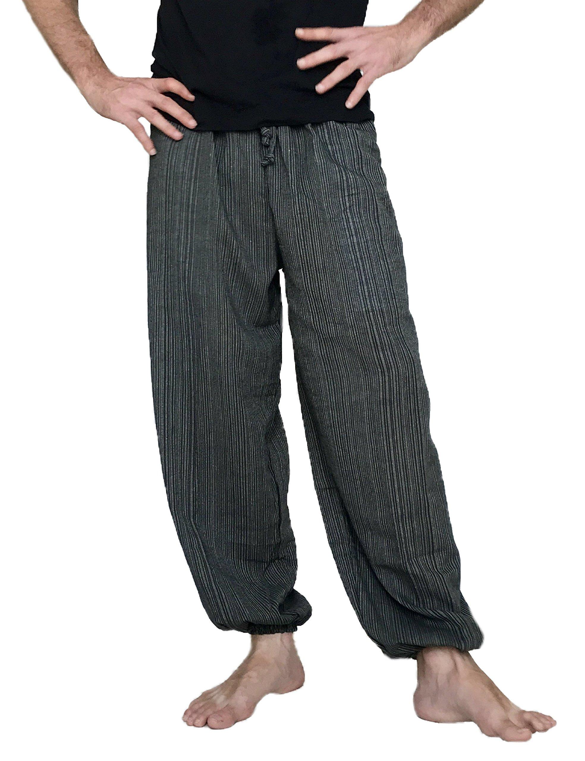 Love Quality Baggy Pants Men's One Size Cotton Harem Pants Hippie Boho Trousers (Dark Grey)
