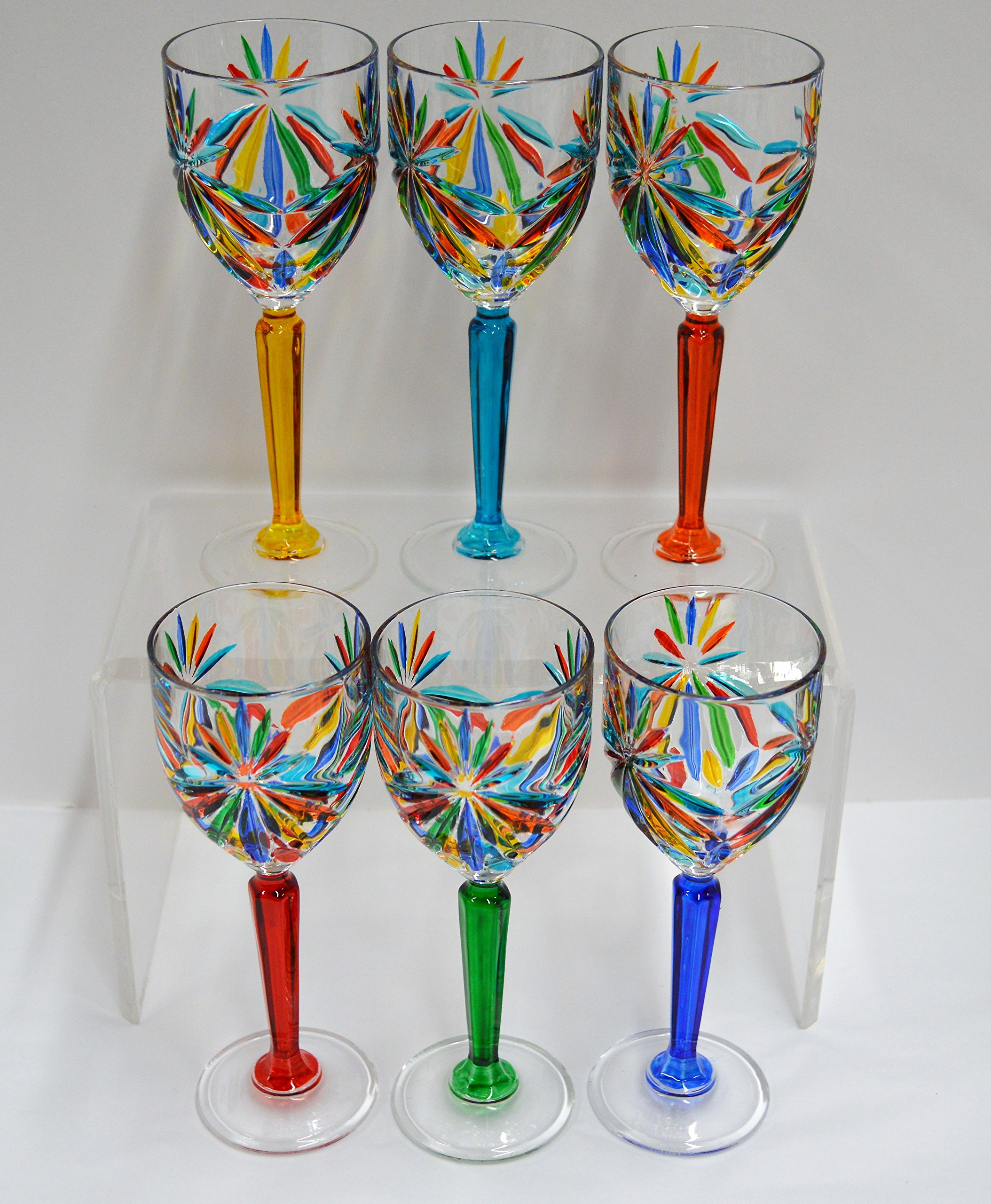 Authentic Italian Cordial Glasses, Star, Murano Glass Set of 6