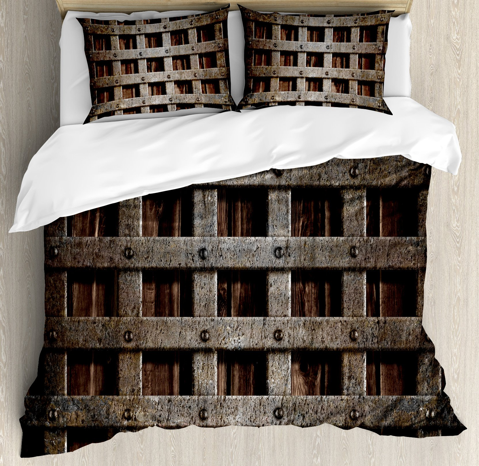 Medieval Duvet Cover Set Queen Size by Ambesonne, Medieval Wooden Castle Wall and Gate Greek Style Mid-Century Designed Artwork Print, Decorative 3 Piece Bedding Set with 2 Pillow Shams, Grey