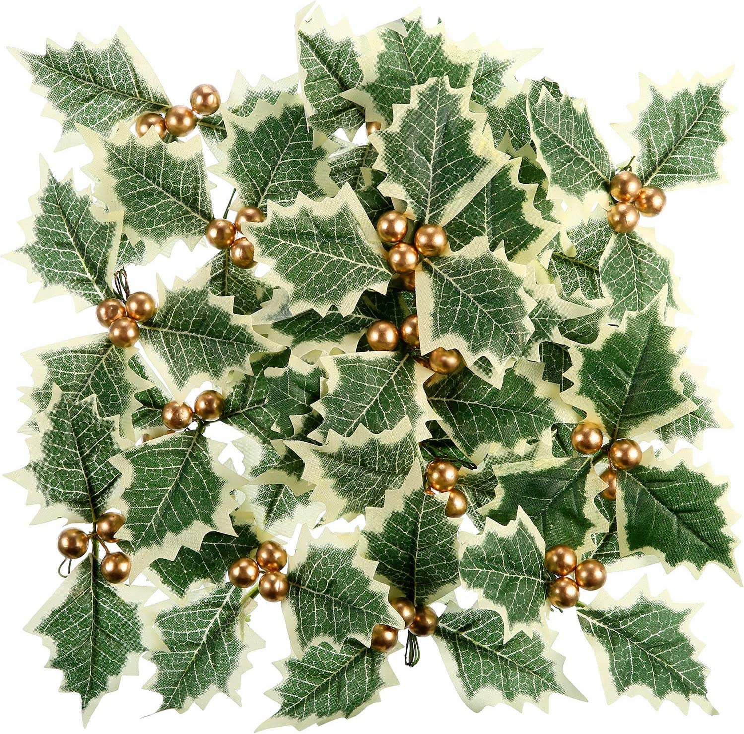 Pangda 30 Pieces Artificial Holly Berry with Green Leaves for Christmas Wreath Arrangement Cake Toppers Craft Wedding Party Decorations (Gold)