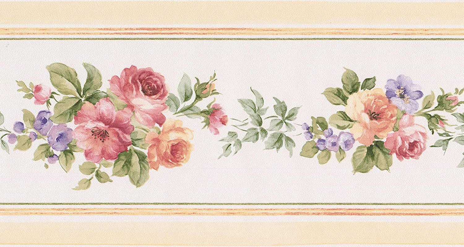 Red Peach Pink Lilac Flowers White Floral Wallpaper Border Retro