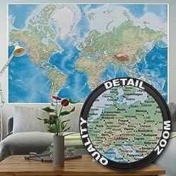 great-art Fototapete Weltkarte - 210 x 140 cm 5-teillige Wandtapete Landkarte im Reliefdesign Tapete Wandbild Wanddeko